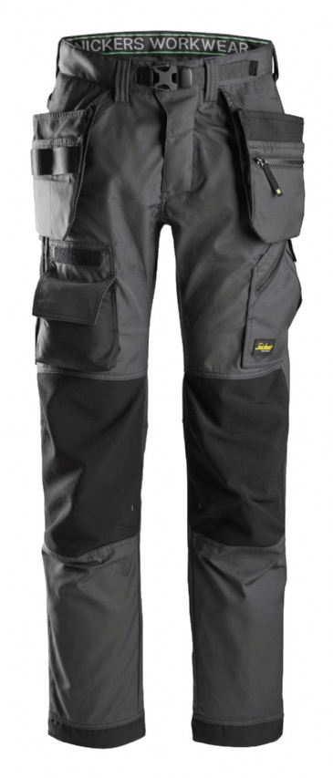 Snickers FlexiWork 6923 Floorlayer Work Trousers with Holster Pockets (Steel Grey / Black)